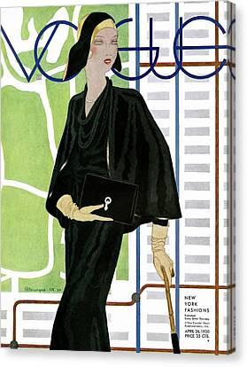 Purse Canvas Print - A Vintage Vogue Magazine Cover Of A Wealthy Woman by Pierre Mourgue