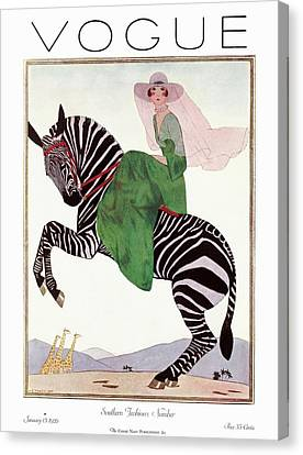 A Vintage Vogue Magazine Cover Of A Woman Canvas Print by Andre E.  Marty