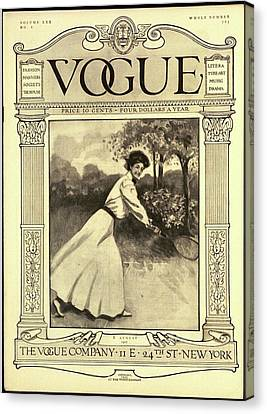 A Vintage Vogue Magazine Cover Of A Woman Canvas Print by C. Freeman
