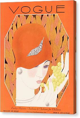 Cloche Hat Canvas Print - A Vintage Vogue Magazine Cover Of A Woman Eating by Georges Lepape