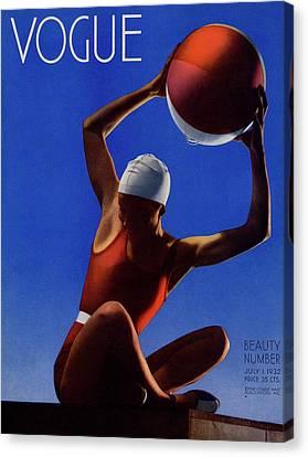 Recreation Canvas Print - A Vintage Vogue Magazine Cover Of A Woman by Edward Steichen