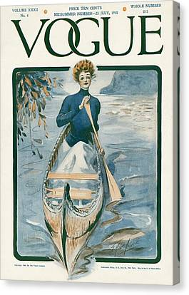 Rowboat Canvas Print - A Vintage Vogue Magazine Cover Of A Woman by G. Howard Hilder