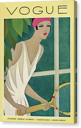 Headband Canvas Print - A Vintage Vogue Magazine Cover Of A Woman by Harriet Meserole