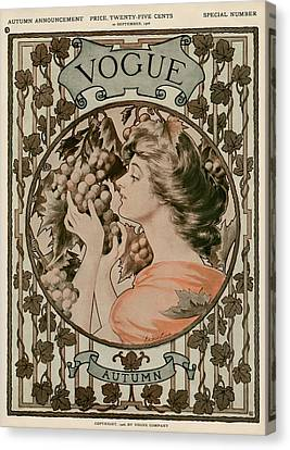 A Vintage Vogue Magazine Cover Of A Woman Canvas Print by Hugh Stuart Campbell