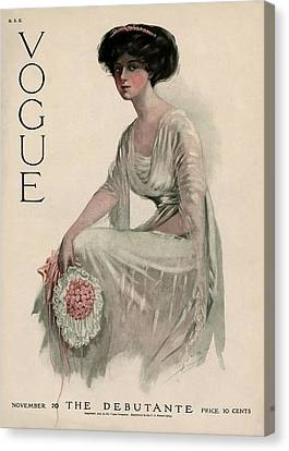 A Vintage Vogue Magazine Cover Of A Woman Canvas Print by Jean Parke