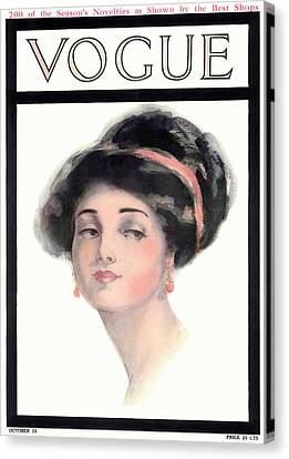A Vintage Vogue Magazine Cover Of A Young Woman Canvas Print by Helen Dryden