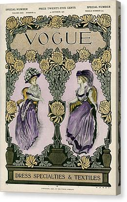 A Vintage Vogue Magazine Cover Of Two Women Canvas Print by Jean Parke