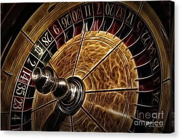 Canvas Print featuring the photograph A Virginia City Roulette Wheel by Brad Allen Fine Art