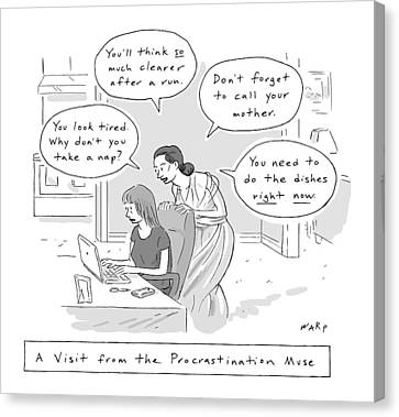 A Visit From The Procrastination Muse -- A Greek Canvas Print by Kim Warp
