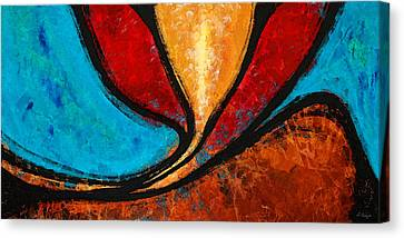 A Visit With Ama - Vibrant Abstract Flower Art By Sharon Cummings Canvas Print by Sharon Cummings