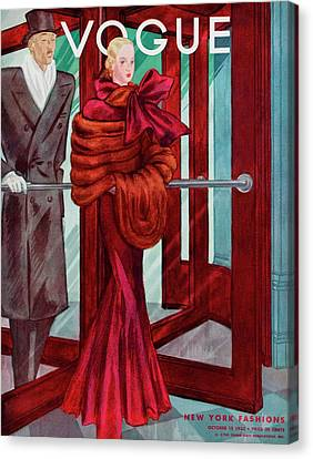A Vogue Cover Of A Couple In A Revolving Door Canvas Print by Georges Lepape
