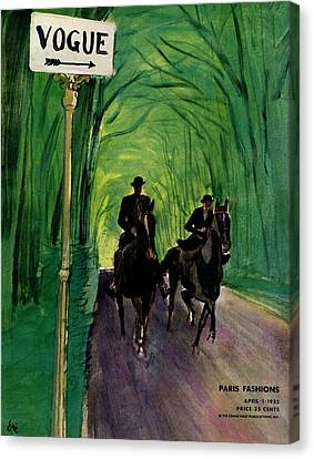 A Vogue Cover Of A Couple Riding Horses Canvas Print