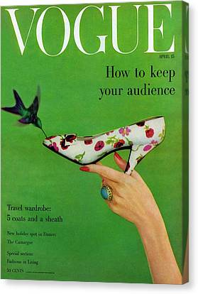 A Vogue Cover Of A Floral Dior High Heel Canvas Print
