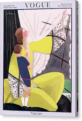 A Vogue Cover Of A Mother And Daughter Canvas Print by Georges Lepape