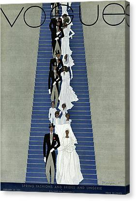 Wedding Dress Canvas Print - A Vogue Cover Of A Wedding Party by Pierre Mourgue