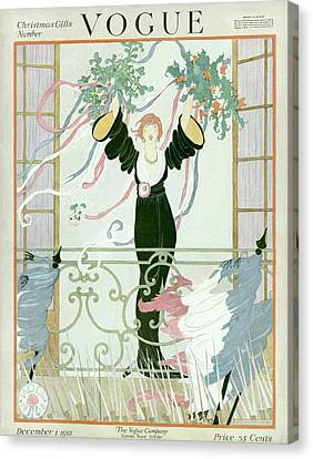A Vogue Cover Of A Woman Above A Parade Canvas Print by Helen Dryden