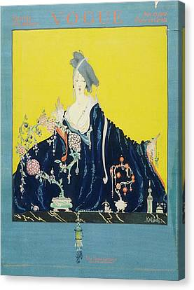 A Vogue Cover Of A Woman At A Dressing Table Canvas Print by Robert Kalloch