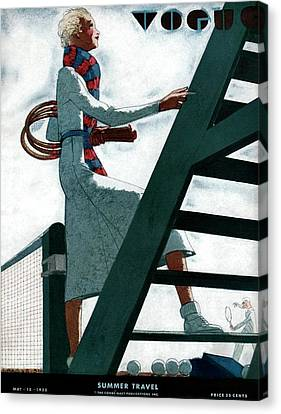 A Vogue Cover Of A Woman At A Tennis Court Canvas Print by Jean Pages