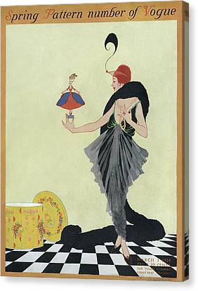 A Vogue Cover Of A Woman Holding A Doll Canvas Print by Helen Dryden