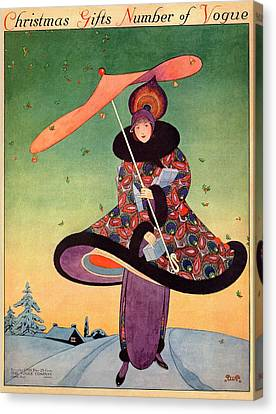 A Vogue Cover Of A Woman Holding An Umbrella Canvas Print