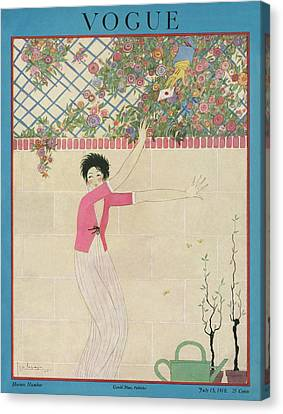 A Vogue Cover Of A Woman Receiving A Letter Canvas Print
