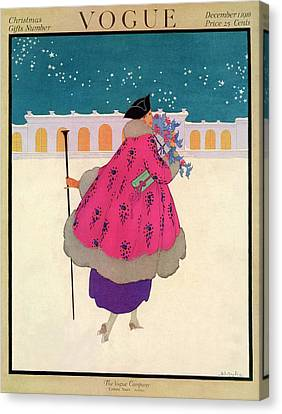 A Vogue Cover Of A Woman Wearing A Pink Coat Canvas Print