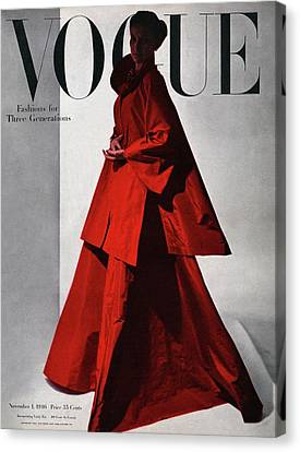 A Vogue Cover Of A Woman Wearing A Red Canvas Print