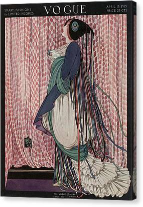 A Vogue Cover Of A Woman Wearing A Ribboned Dress Canvas Print