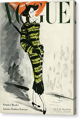 A Vogue Cover Of A Woman Wearing A Striped Coat Canvas Print by Rene Bouet-Willaumez