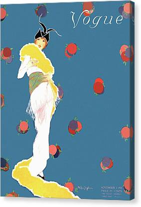 A Vogue Cover Of A Woman Wearing A Yellow Boa Canvas Print