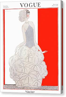 A Vogue Cover Of A Woman Wearing An Evening Gown Canvas Print by Georges Lepape
