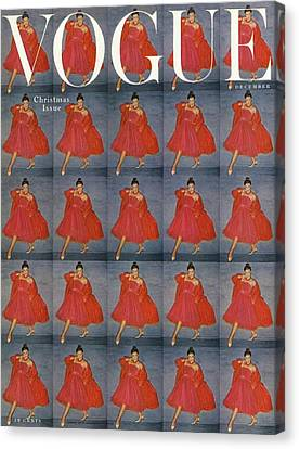 1954 Canvas Print - A Vogue Cover Of A Woman Wearing Red by Clifford Coffin