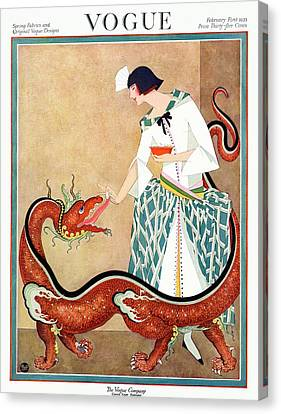 A Vogue Cover Of A Woman With A Chinese Dragon Canvas Print by George Wolfe Plank