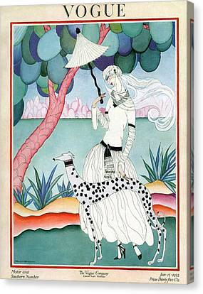 A Vogue Cover Of A Woman With A Dalmatian Canvas Print