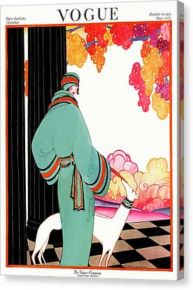 Floor Canvas Print - A Vogue Cover Of A Woman With A Dog by Helen Dryden