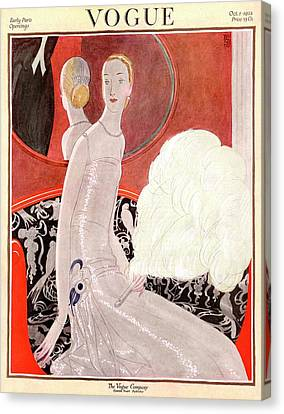 Ostrich Feathers Canvas Print - A Vogue Cover Of A Woman With A Fan by Eduardo Garcia Benito