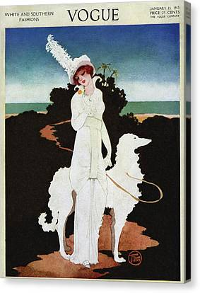 A Vogue Cover Of A Woman With A Wolfhound Canvas Print