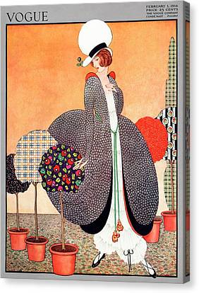 A Vogue Cover Of A Woman With Fabric Swatch Pot Canvas Print by George Wolfe Plank