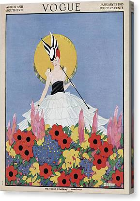 A Vogue Cover Of A Woman With Flowers Canvas Print