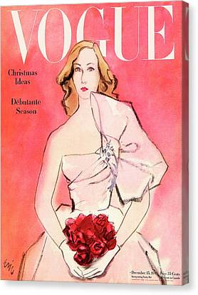 A Vogue Cover Of A Woman With Roses Canvas Print