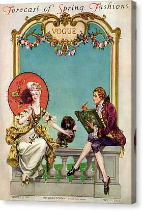 A Vogue Cover Of An 18th Century Couple Canvas Print by Frank X. Leyendecker