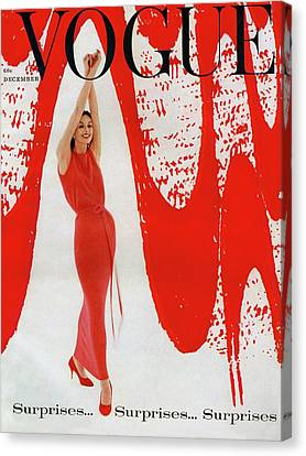 A Vogue Cover Of Anne St. Marie And Red Paint Canvas Print by William Bell