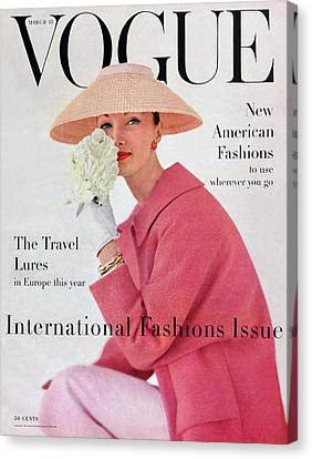 Writing Canvas Print - A Vogue Cover Of Evelyn Tripp Wearing Pink by Karen Radkai