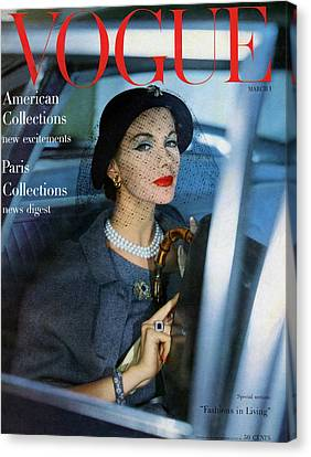 A Vogue Cover Of Joan Friedman In A Car Canvas Print by Clifford Coffin