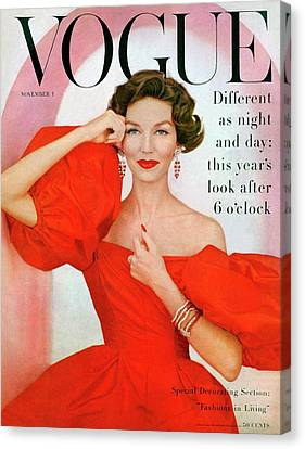 A Vogue Cover Of Joanna Mccormick Wearing Canvas Print by Richard Rutledge