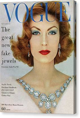Mary Canvas Print - A Vogue Cover Of Mary Mclaughlin Wearing Miriam by Leombruno-Bodi
