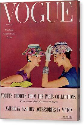 A Vogue Cover Of Models Wearing Lilly Dache Hats Canvas Print by Richard Rutledge