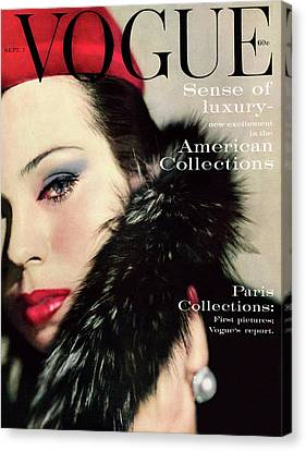A Vogue Cover Of Morris Wearing A Fur Collar Canvas Print by Karen Radkai