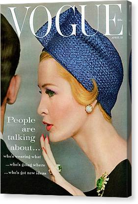 Writing Canvas Print - A Vogue Cover Of Sarah Thom Wearing A Blue Hat by Richard Rutledge