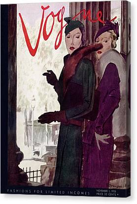 A Vogue Cover Of Women Wearing Coats Canvas Print